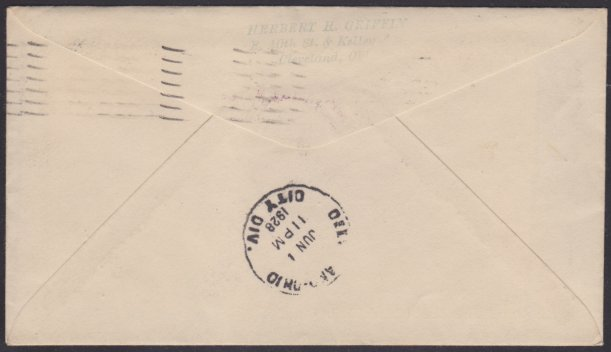 Reverse of cover bearing Cleveland, Ohio, postmark
