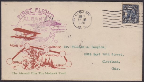 Front of cover bearing 14-cent American Indian stamp and CAM 20 first flight marking