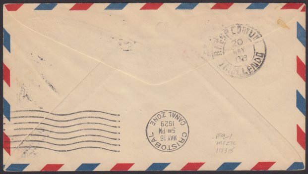 Reverse of stamped envelope bearing Cristobal, Canal Zone, and Mollendo, Peru, postmarks