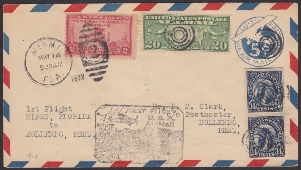 Front of stamped envelope bearing pair of 14-cent American Indian stamps, 20-cent U.S. map airmail stamp, 2-cent International Civil Aeronautics Conference stamp, and FAM 9 first flight marking