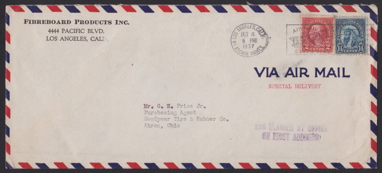 Front of envelope bearing 14¢ American Indian and 2¢ George Washington stamps
