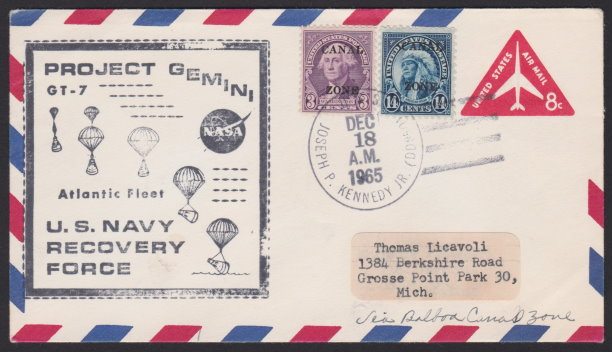 Front of Gemini 7 cover with 14-cent American Indian stamp
