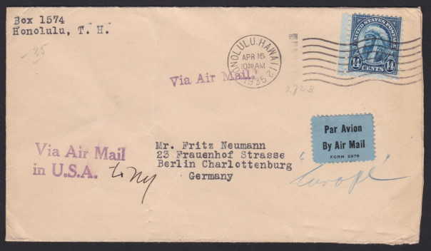 Front of cover mailed from Honolulu, Hawaii, to Berlin, Germany, with 14¢ American Indian stamp paying postage