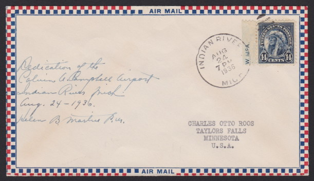 Front of cover bearing 14-cent American Indian stamp and postmarked in Indian River, Michigan