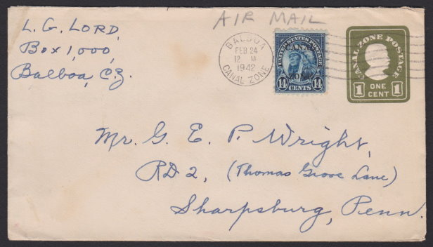 Front of 1¢ Canal Zone stamped envelope with 14¢ American Indian stamp