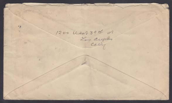 Reverse of cover mailed from Los Angeles, California
