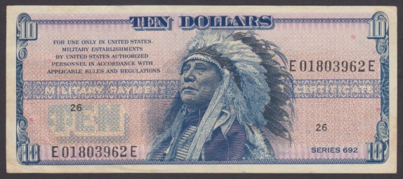 Front of miliary payment certificate picturing American Indian