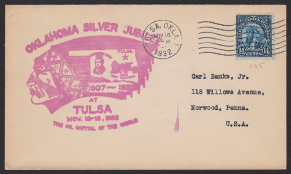 Front of cover bearing 14-cent American Indian stamp and Oklahoma Silver Jubilee cachet