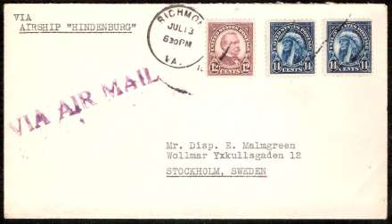 Cover flown on Hindenburg