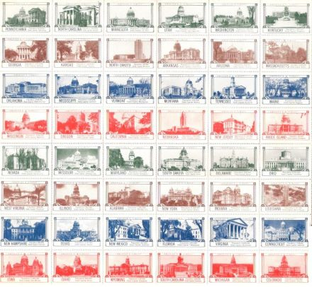Sheet of Seagram poster stamps honoring U.S. states