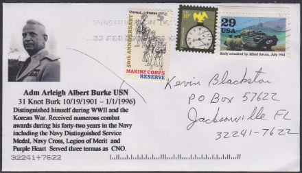 Cover honoring Admiral Arleigh Burke
