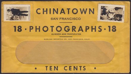 Envelope in which photo stamps were sold