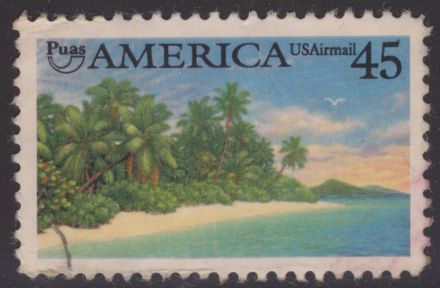 45-cent stamp depicting tropical coast