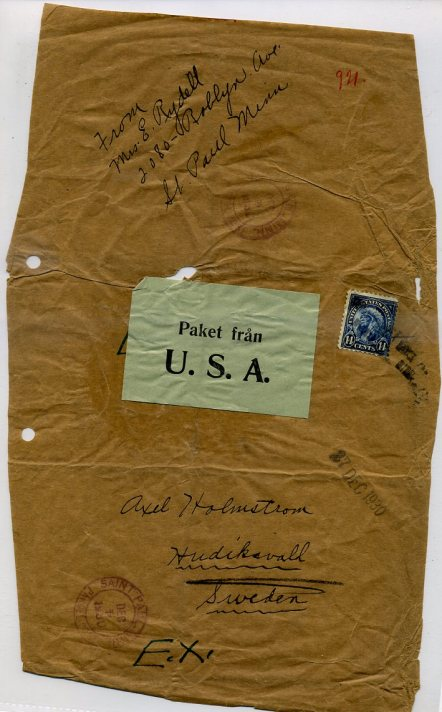 Parcel wrapper bearing 14-cent American Indian stamp