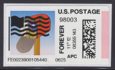 Automated Postal Center label picturing flag printed on top of mailbox