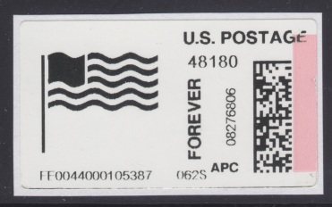 Automated Postal Center label picturing flag