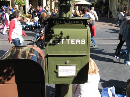 Green antique mailbox on Disney World's Magic Kingdom's Main Street