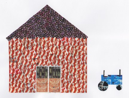 Stamp collage picturing barn and tractor