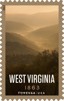 Stamp picturing wooded mountains in West Virginia