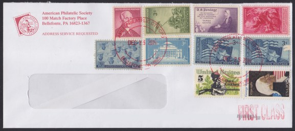American Philatelic Society cover bearing 10 stamps