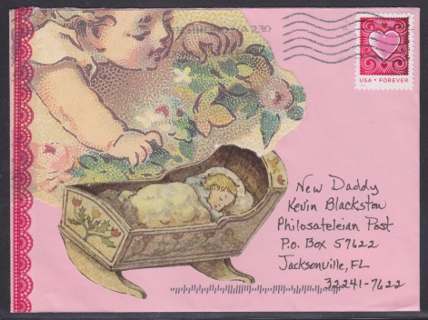 Mail art cover with illustrations of babies