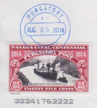 Purgatory Post Panama Canal Centennial stamp picturing SS Ancon in the Culebra Cut