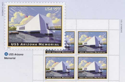 Illustration showing USS Arizona Memorial stamps without denomination