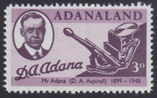 3-pence Adanaland stamp picturing D.A. Aspinall