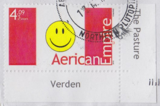 Aerican Empire's stamp picturing flag with red and white vertical bars and smiley face