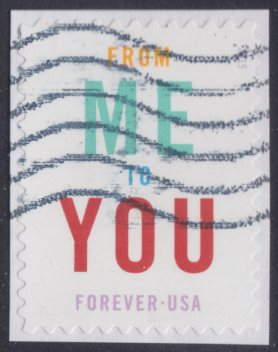 United States Forever stamp bearing the text 'From Me to You'