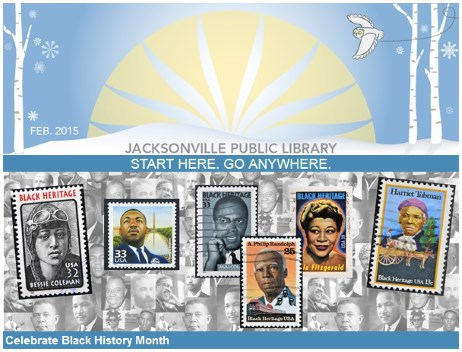Header image from Jacksonville Public Library e-mail message about Black Heritage Month