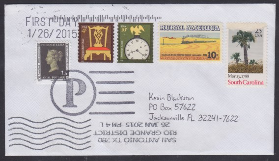 First day cover bearing copy of Philosateleian Post's Penny Black stamp