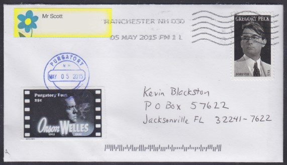 Cover bearing a copy of Purgatory Post's Orson Welles stamp