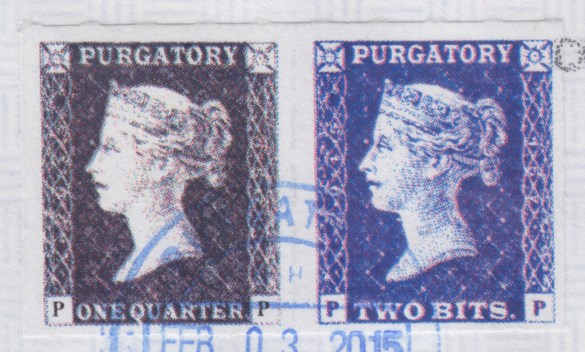 Pair of Purgatory Post stamps