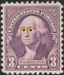 3-cent George Washington stamp with big eyes