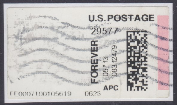 Automated Postal Center label missing a printed design
