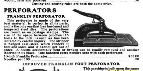 Illustration of Franklin Hand Perforator in printer supply catalogue