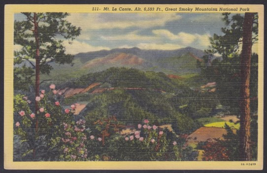 Post card depicting Mount Le Conte in Great Smoky Mountains National Park