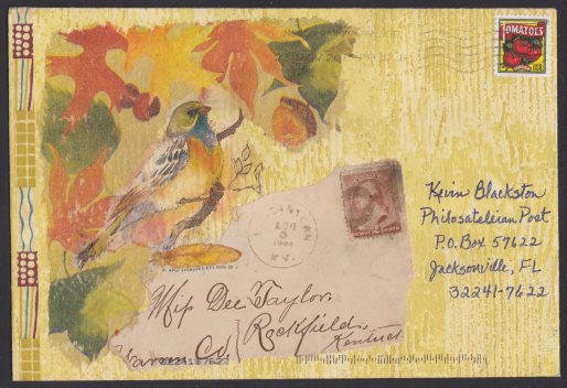 Cover bearing collage comprised of images of bird and leaves and part of a vintage envelope front