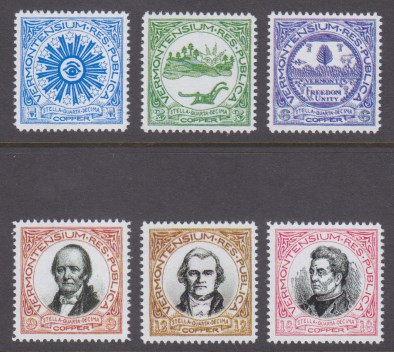 1-, 3-, 6-, 9-, 12-, and 18-copper Vermont Republic fantasy stamps