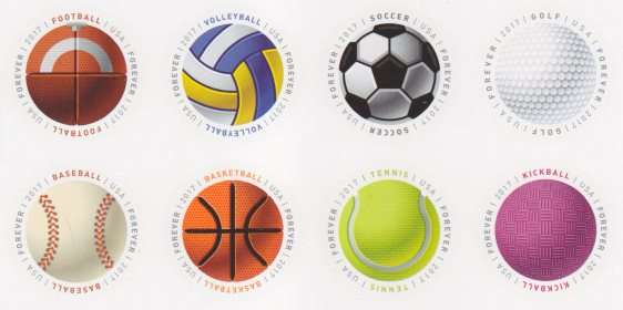 United States stamps picturing football, volleyball, soccer ball, golf ball, baseball, basketball, tennis ball, and kickball