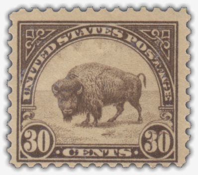 30-cent Bison stamp with double transfer evident in righthand '30' and word 'Postage'