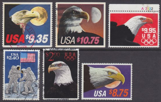 Set of six high face value United States stamps