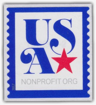 Non-denominated 5-cent U.S. postage stamp picturing blue 'USA' and red star