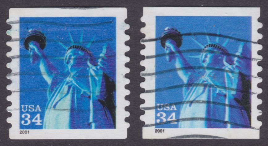 United States 34¢ Statue of Liberty stamps with rounded and square corners