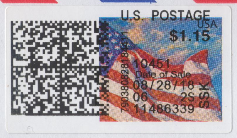 APC U.S. Flag label with barcode and text printed on top