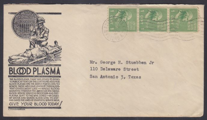 Cover with cachet prepared for proposed blood plasma stamp