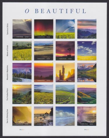 O Beautiful stamps, pane of 20