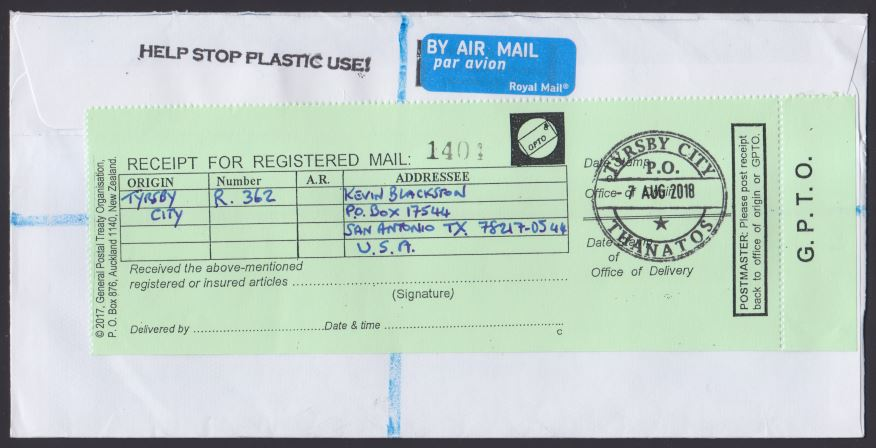 Reverse of registered cover bearing receipt for registered mail