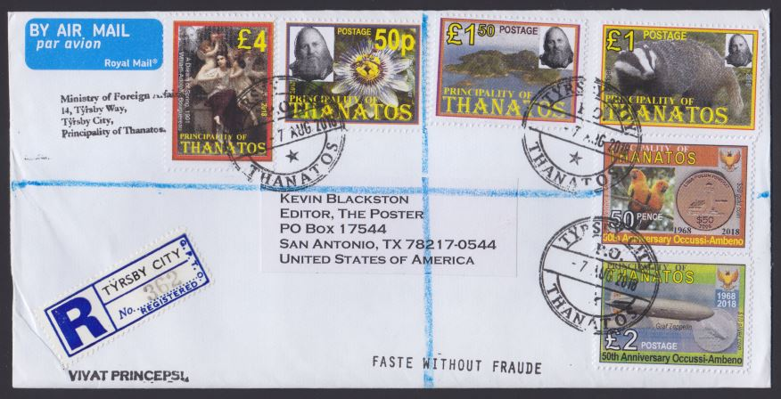 Front of registered cover bearing Principality of Thanatos stamps